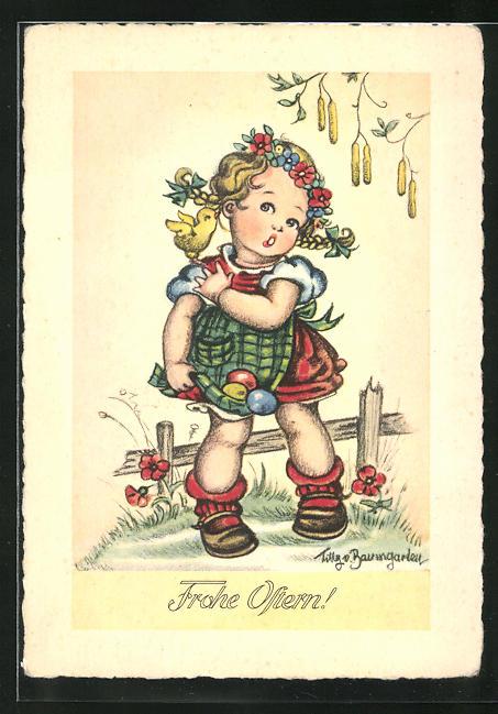 Künstler-AK Tilly von Baumgarten: Frohe Ostern!, kleines Mädchen