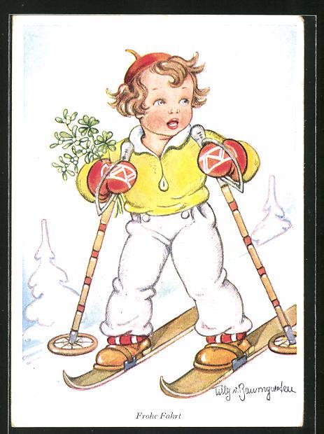 Künstler-AK Tilly von Baumgarten: Frohe Fahrt, kleiner Skiläufer