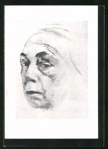 Künstler-AK Käthe Kollwitz: Selbstbild, 1924