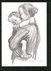 Künstler-AK Käthe Kollwitz: Mutter mit Jungen auf dem Arm