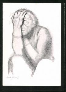Künstler-AK Käthe Kollwitz: Nachdenkende Frau