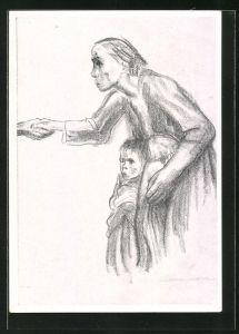 Künstler-AK Käthe Kollwitz: Frau reicht dem Tod die Hand