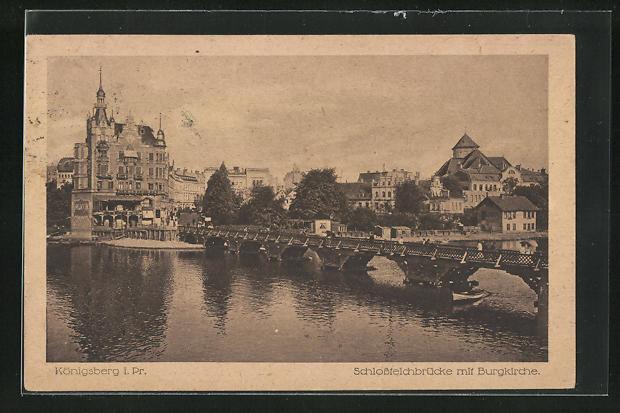 AK Königsberg, Schlossteichbrücke mit Burgkirche