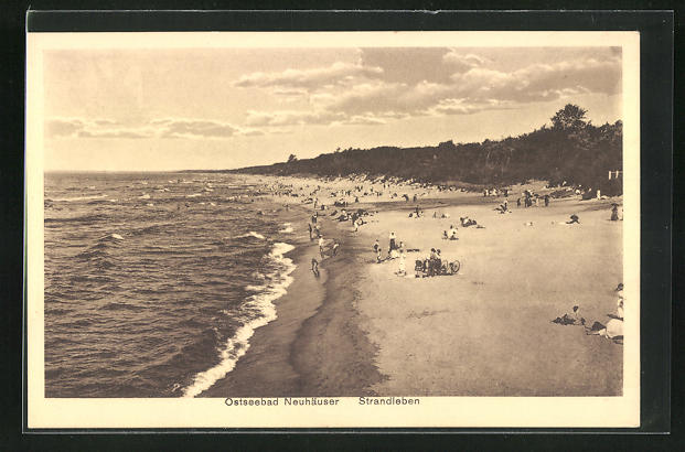 AK Neuhäuser, Strandleben mit Uferansicht und Ostsee