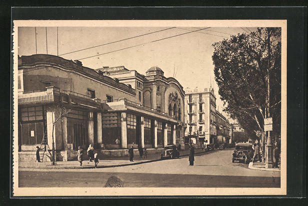 AK Tunis, Cafe du Casino, Theatre Municipal, Avenue Jules-Ferry