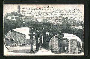AK Perugia, Piazza del Municipio, Porta Urbica Etrusca, Panorama