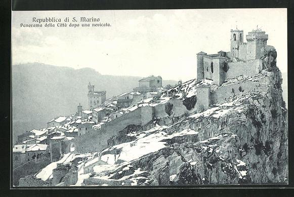AK San Marino, Panorama della Citta dopo una nevicata