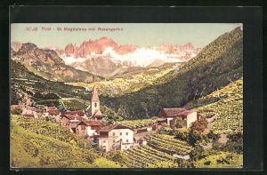 AK St. Magdalena, Panormablick mit Rosengarten