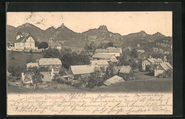 AK Dittersbach / Jetrichovice, Ortsansicht mit Kirche