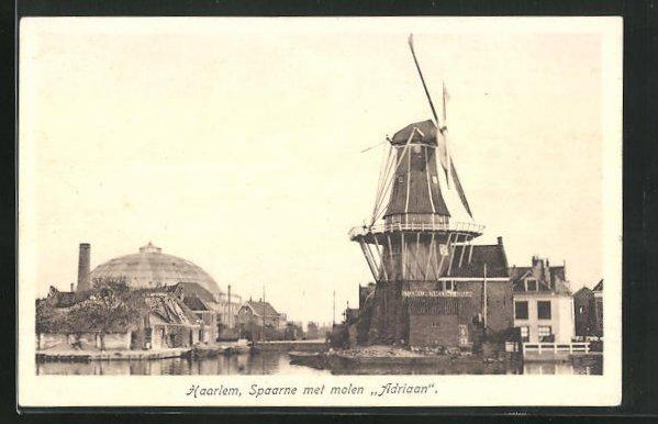 AK Haarlem, Spaarne met molen Adriaan