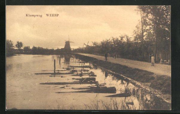 AK Weesp, Klompweg mit Windmühle
