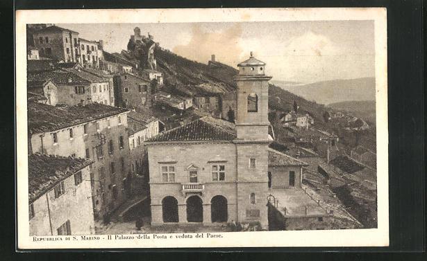AK San Marino, Il Palazzo della Posta e veduta del Paese