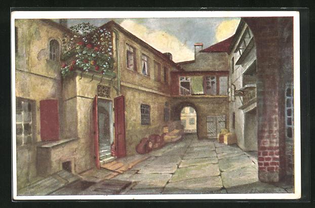 AK Breslau, Blick auf den Hof 1, Links Sabinezimmer mit Balkon, Durchblick anch Hof 2