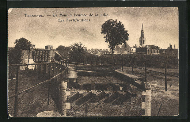 AK Termonde, Le Pont a l`entree de la ville, Les Fortifications