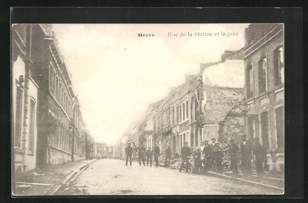 AK Herve, Rue de la Station et la gare, Strassenpartie