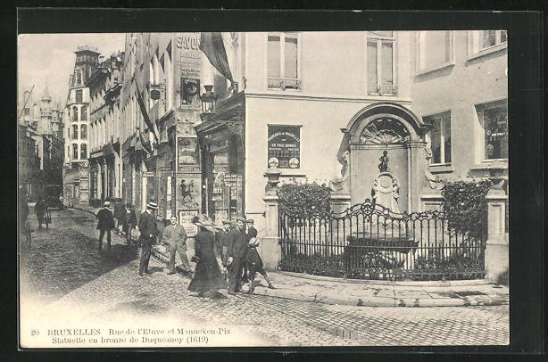 AK Bruxelles, Rue de l`Etuve et Manneken-Pis, Statuette en bronze de Duquesnoy
