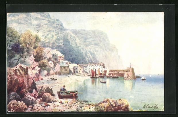 AK Clovelly, Teilansicht mit Pier, Uferpartie und Felsen, Ruderboot