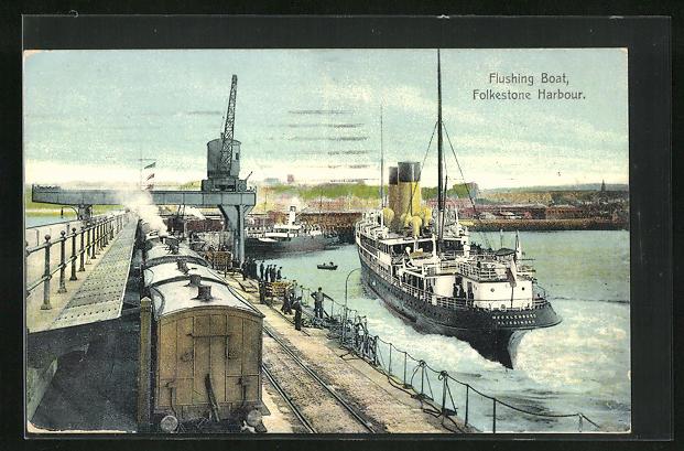 AK Folkestone, Harbour, Flushing Boat, Eisenbahn