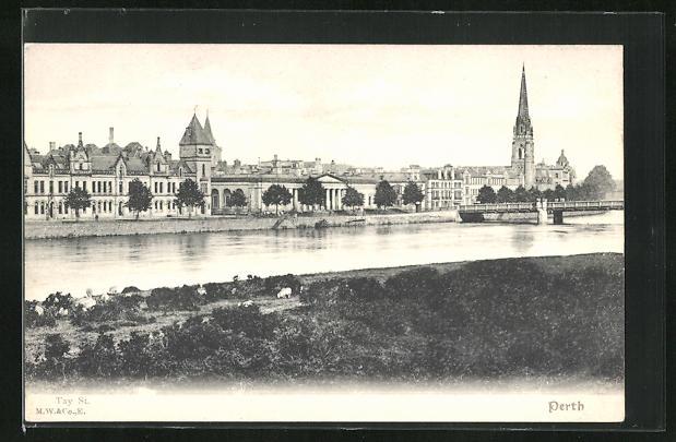 AK Perth, Teilansicht mit Tay und Smeaton`s Bridge, St. Matthew`s Church