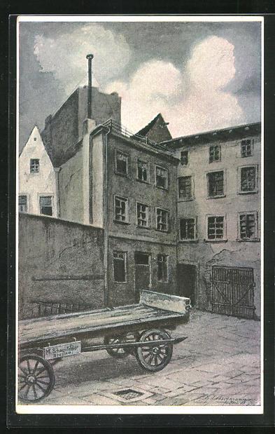 AK Breslau, Hof 2 mit den Zimmern von Wohlfarth, v. Fink, Baumann