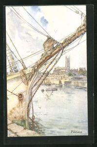 AK Penzance, Hafenpartie mit Bug von Segelschiff, Blick auf Kirche
