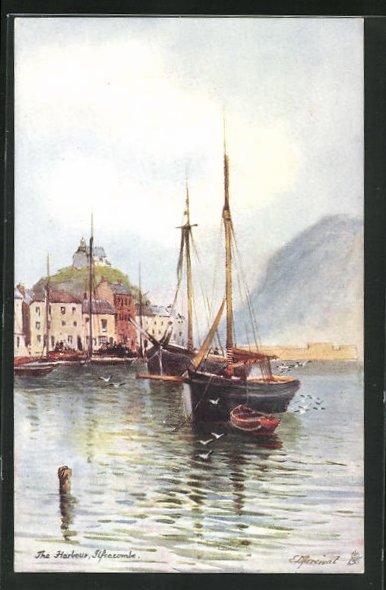 AK Ilfracombe, The Harbour, Segelschiffe mit Blick auf St. Nicholas Chapel