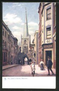 AK Bristol, St. John`s Gate, Kirche, Geschäftsfassaden