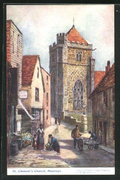 AK Hastings, St. Clement`s Church, Strassenszene