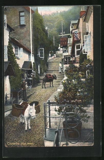 AK Clovelly, Esel in der High Street