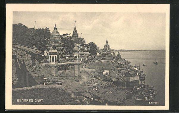 AK Benares, Panoramablick mit Ghat