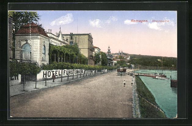 AK Remagen, Rheinpartie am Hotel Fürstenberg