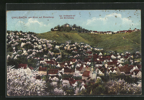AK Uhlbach, Panorama mit Blick auf den Rotenberg