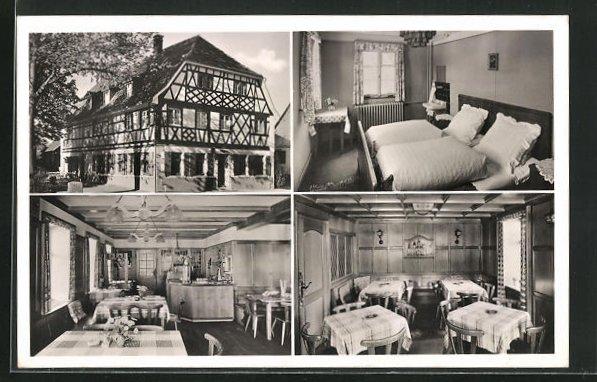 AK Denzlingen im Breisgau, Gasthaus zur Krone, vier Ansichten