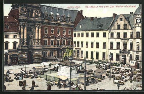 AK Düsseldorf, Marktplatz mit dem Jan Wellem-Denkmal