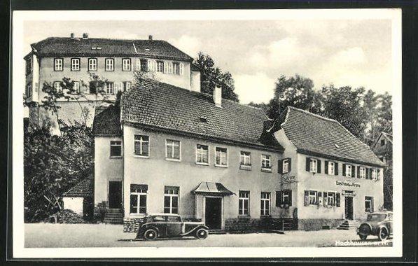 AK Hochhausen a. N., Metzgerei und Gasthaus zur Krone