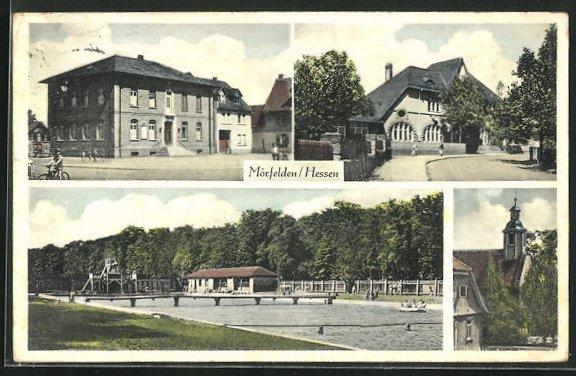 AK Mörfelden i. Hessen, vier Motive aus dem Ort, Freibad
