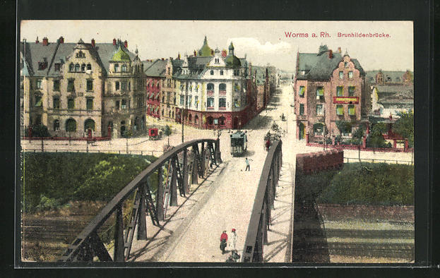 AK Worms a. Rh., Blick auf die Brunhildenbrücke