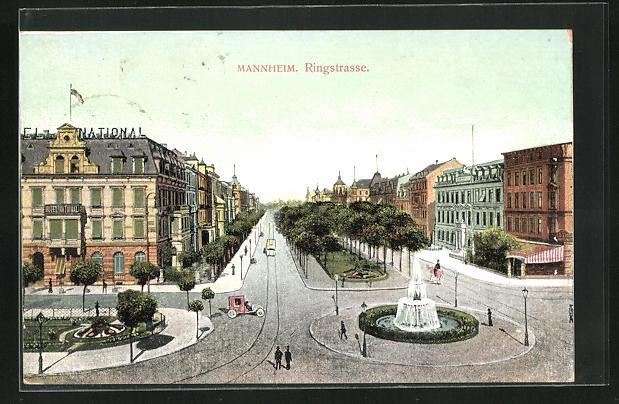 AK Mannheim, Strassenkreuzung Ringstrasse mit Springbrunnen und Hotel National