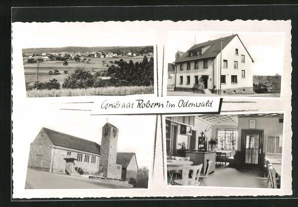 AK Robern i. Odenwald, Gasthaus zum Löwen, Innenansicht, Kirche und Umgebung