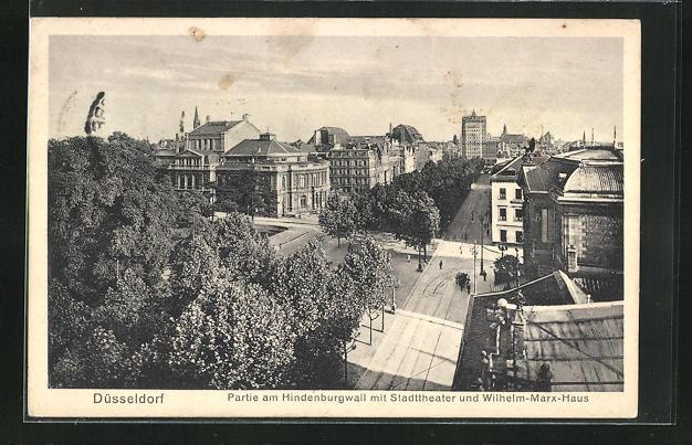 AK Düsseldorf, Partie am Hindenburgwall mit Stadttheater und Wilhelm-Marx-Haus