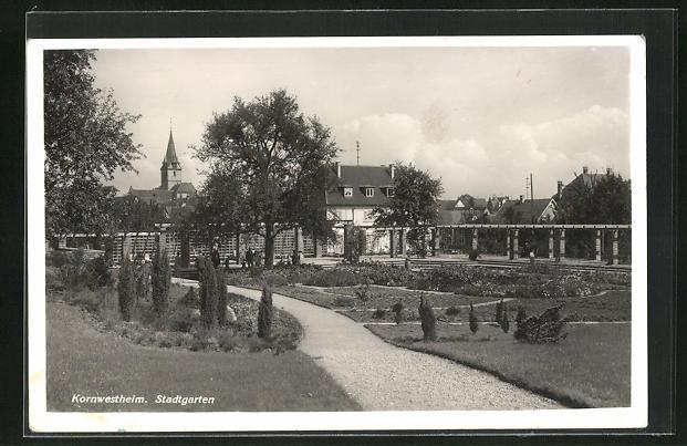 AK Kornwestheim, Stadtgarten mit Spazierwegen und Blick auf Kirchturm
