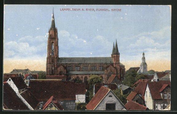 AK Lampertheim a. Rhein, Evangel. Kirche und Häuser