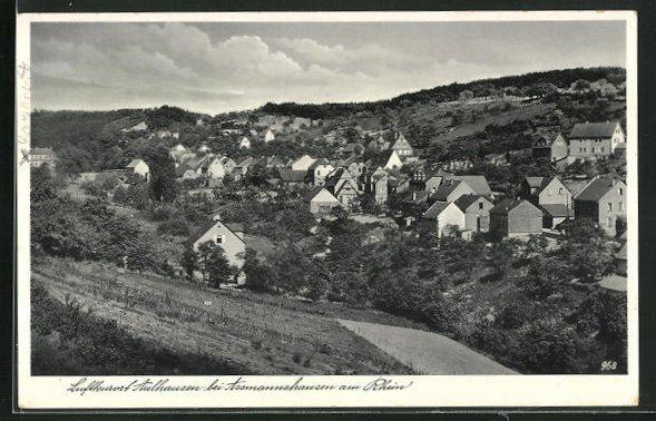 AK Aulhausen bei Assmannshausen a. Rhein, Ortsansicht von Anhöhe aus