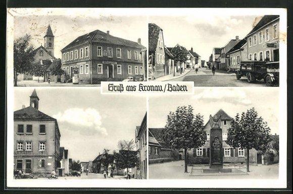 AK Kronau / Baden, Denkmal, Kirche, Strassenpartie