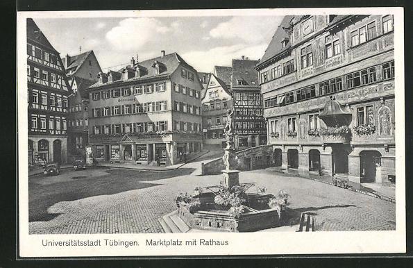 AK Tübingen, Marktplatz mit Rathaus