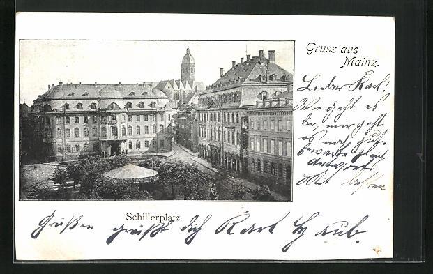 AK Mainz, Blick über den Schillerplatz aus der Vogelschau