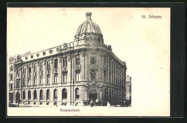 AK St. Johann, Strassenpartie an der Hauptpost