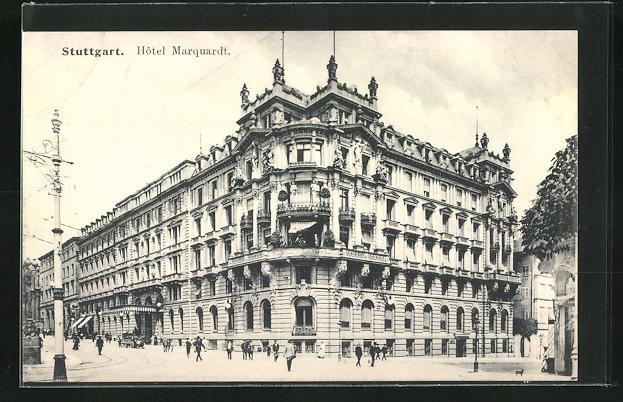 AK Stuttgart, Strassenpartie am Hotel Marquardt
