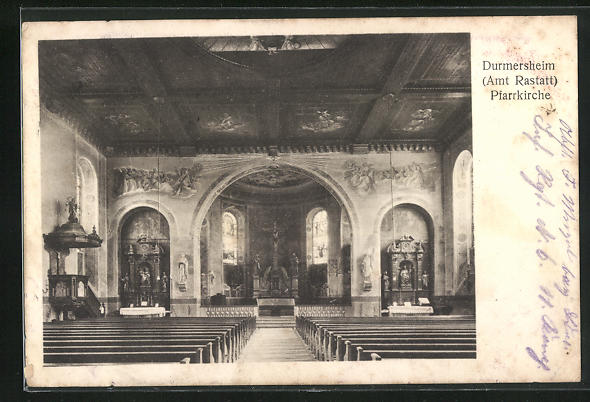 AK Durmersheim, Pfarrkirche, Innenansicht