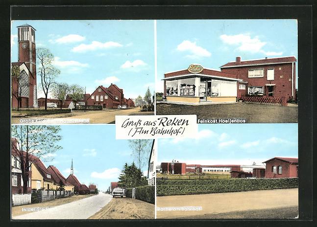 AK Reken, Hauptstrasse mit grosser Kirche, Feinkost Hoeijenbos, Bahnhof und Siedlung